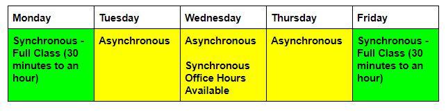 online class schedule 1