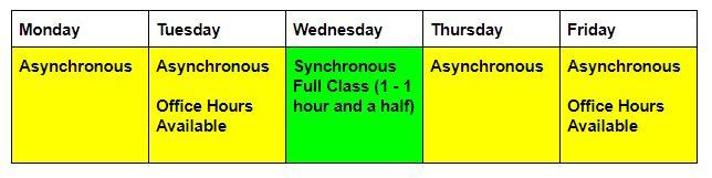 online class schedule 2